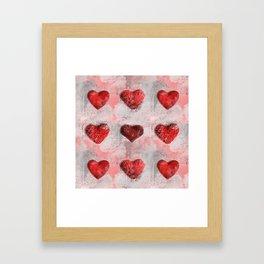 Heart Love Red Mixed Media Pattern Gift Framed Art Print
