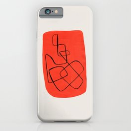 Enshape by Ejaaz Haniff 'Orange Maze' Mid Century Modern Minimalist Maze Pattern Line Drawing Funky Cool Vintage Style iPhone Case