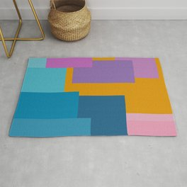 Happy Color Block Geometrics in Yellow, Blue, Purple, and Pink Rug