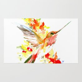 Hummingbird and Flame Colored Flowers Rug