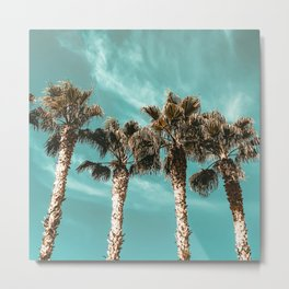 Tropical Palm Tree Photography {1 of 2} | Teal Blue Sky Wind Blown Clouds Metal Print