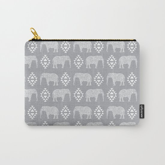 Elephant geometric southwest modern monochromatic grey children kids nature safari pattern  Carry-All Pouch