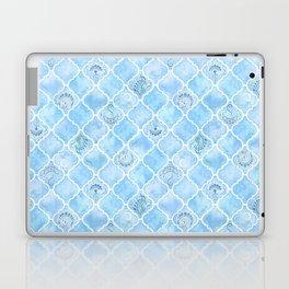 Watercolor Arabesque Tiles with Art Nouveau Focal Designs in Blue Laptop & iPad Skin