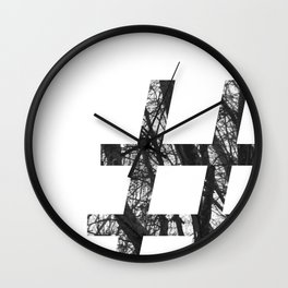 Minimal Number Sign Print With Photography Background Wall Clock