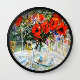 Bouquet on the table Wall Clock