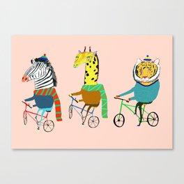 Biking Animals. Canvas Print