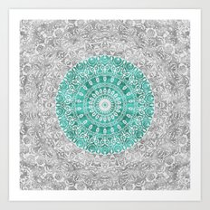 New Vintage Floral Mandala Aqua Green Art Print