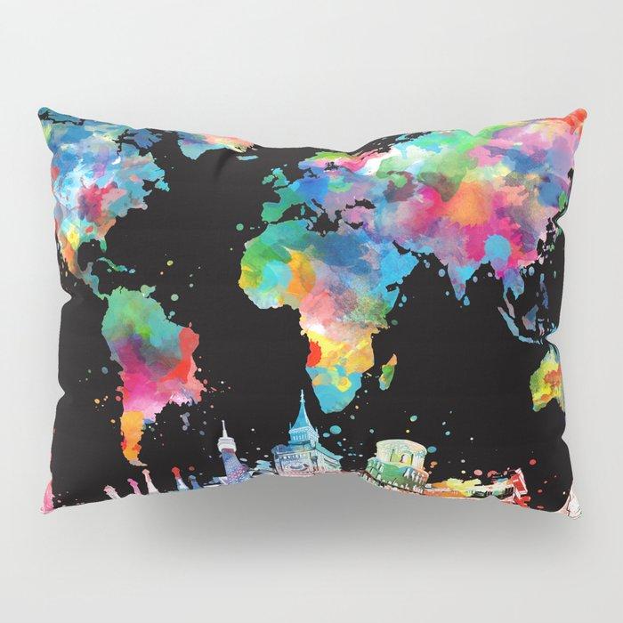 world map city skyline 3 Pillow Sham
