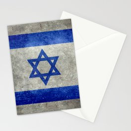 National flag of the State of Israel with distressed worn patina Stationery Cards