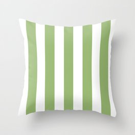Olivine green - solid color - white vertical lines pattern Throw Pillow