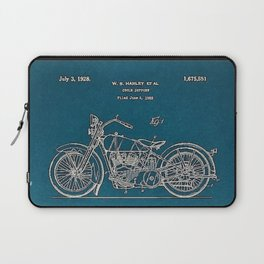 1902 Motorcycle Blueprint Patent in blue Laptop Sleeve