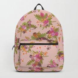Pugs in flower garden Backpack