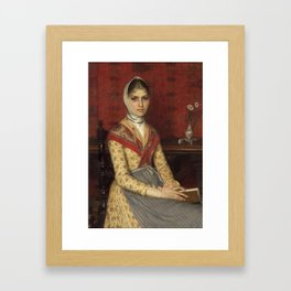 Filadelfo Simi , Portrait of a young woman holding a book, with a still life of flowers on the table Framed Art Print