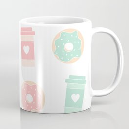 cute colorful donuts and coffee pattern background illustration Coffee Mug
