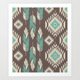 Native Roots - Turquoise & Brown Art Print