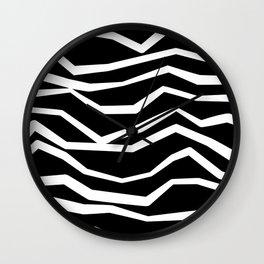 Wavy zig zag lines edgy black and white Wall Clock
