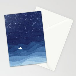 blue ocean waves, sailboat ocean stars Stationery Cards