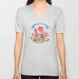 Will Not Be Tamed Floral Watercolor Unisex V-Neck