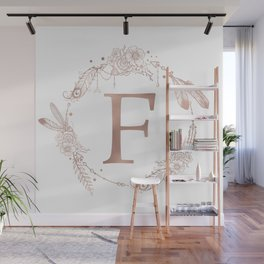 Letter F Rose Gold Pink Initial Monogram Wall Mural