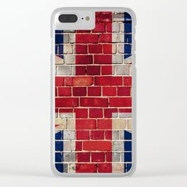 UK flag on a brick wall Clear iPhone Case