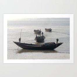 Fishermen On The Ganges River Art Print