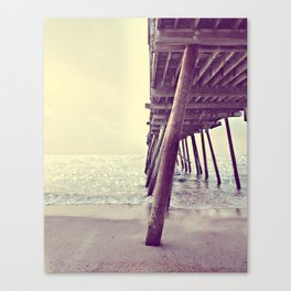 Pier at Sunrise with Glitter Canvas Print