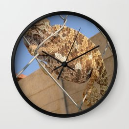 Chameleon In Shades of Brown on Fence Wall Clock