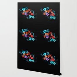 Colorful Flowers on black background Wallpaper