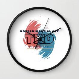 Tae Kwon Do/ Korean martial art with Korean letters Wall Clock