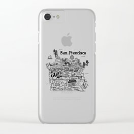 San Francisco Map Illustration Clear iPhone Case