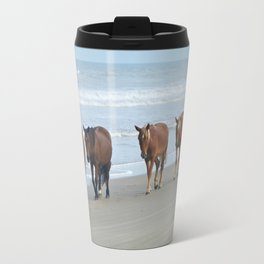 Outer Banks, Corolla, NC OBX Wild Horses Walking on the Beach  Travel Mug