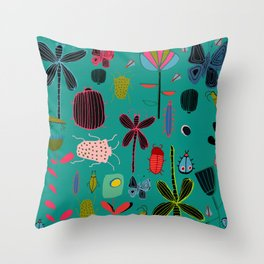 bugs and insects green Throw Pillow