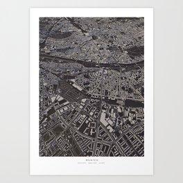 Munich city map Art Print