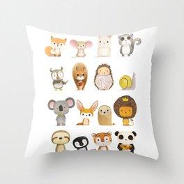 Mr. Lion, Mr. Squirrel & Their Friends Throw Pillow
