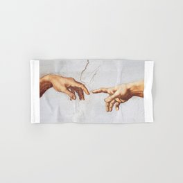 The Creation of Adam by Michelangelo Fingers Hand & Bath Towel