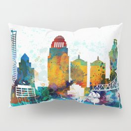 Louisville colorful watercolor skyline Pillow Sham
