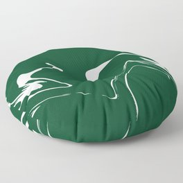Green With White Liquid Paint Floor Pillow
