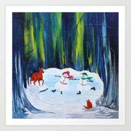 Christmas Night with dancing snowmen Art Print