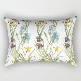 Vintage Floral Pattern | No. 2B | Iris Flowers | Irises Rectangular Pillow