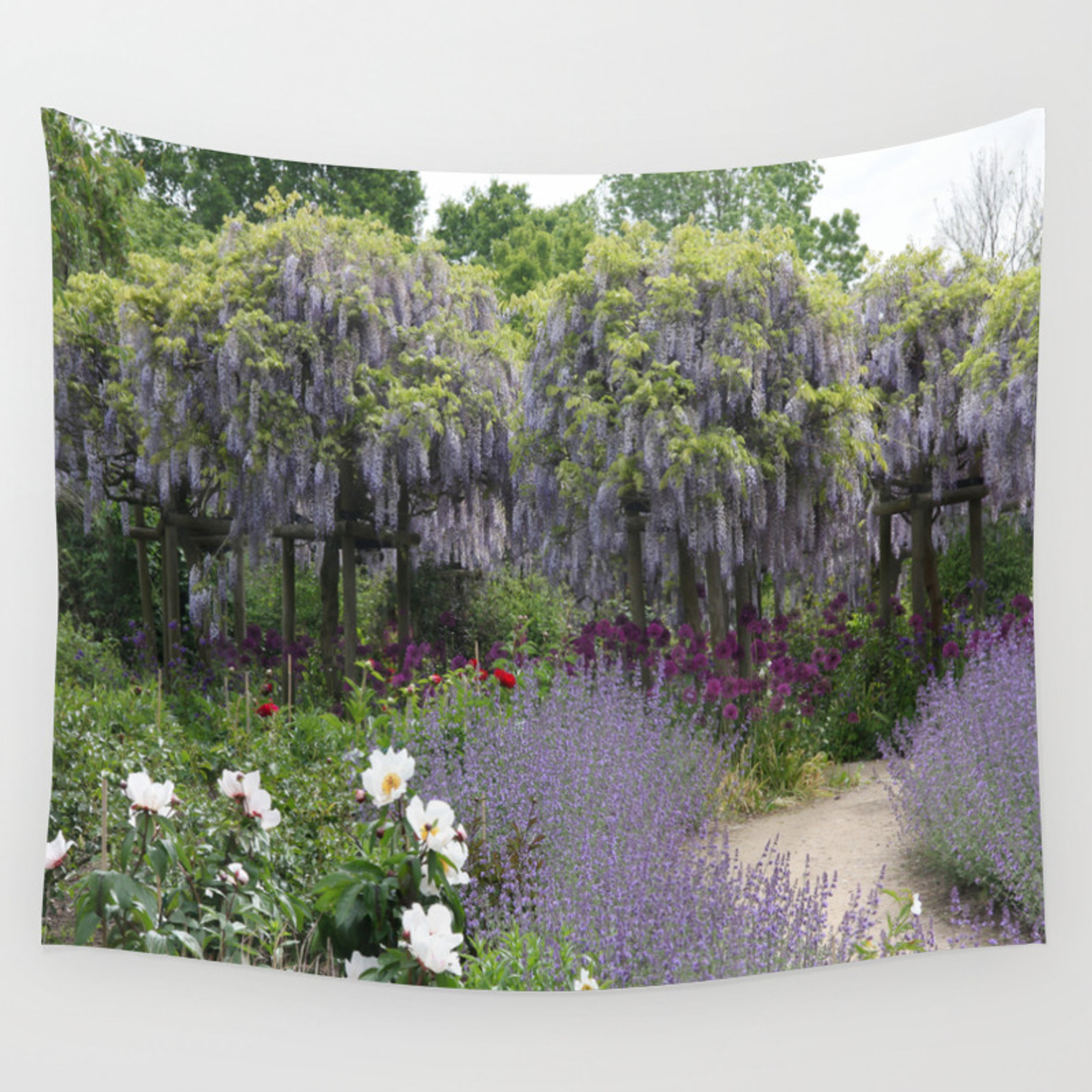 Blue Flowergarden With Wisteria Wall Tapestry By Christianeschulze