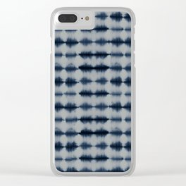Shibori Frequency Horizontal Navy and Grey Clear iPhone Case
