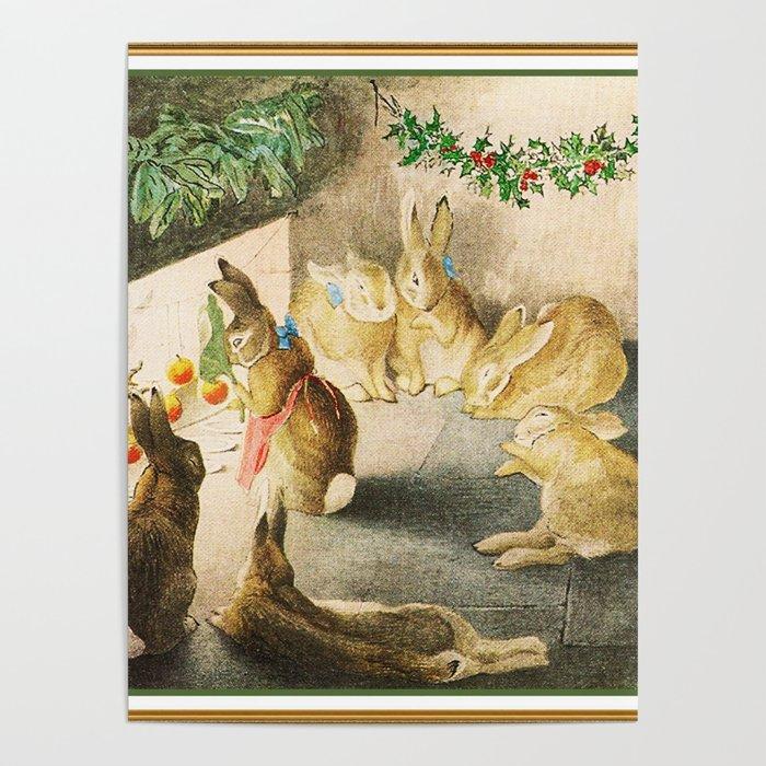 Beatrix Potter Christmas bunnies Poster