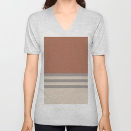 Slate Violet Gray SW9155 and Creamy Off White SW7012 Horizontal Stripes on Cavern Clay SW 7701 Unisex V-Neck