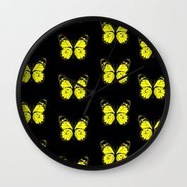 Yellow Butterflies - First Sign of Spring Wall Clock