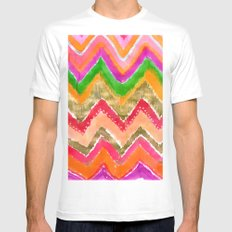 Shocking Pink & Gold Ikat Mens Fitted Tee MEDIUM White