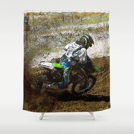 Round the Bend - Dirt-Bike Racing Shower Curtain