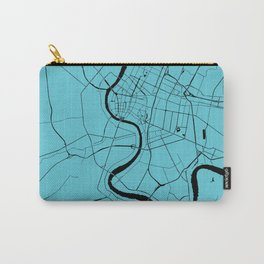 Bangkok Thailand Minimal Street Map - Turquoise and Black Carry-All Pouch