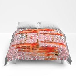 Decorative Grey-Rink Art Deco Flamingo Reflecting Art  Comforters