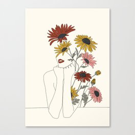 Colorful Thoughts Minimal Line Girl with Sunflowers Canvas Print