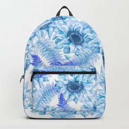 Artistic pastel blue purple watercolor hand painted floral Backpack